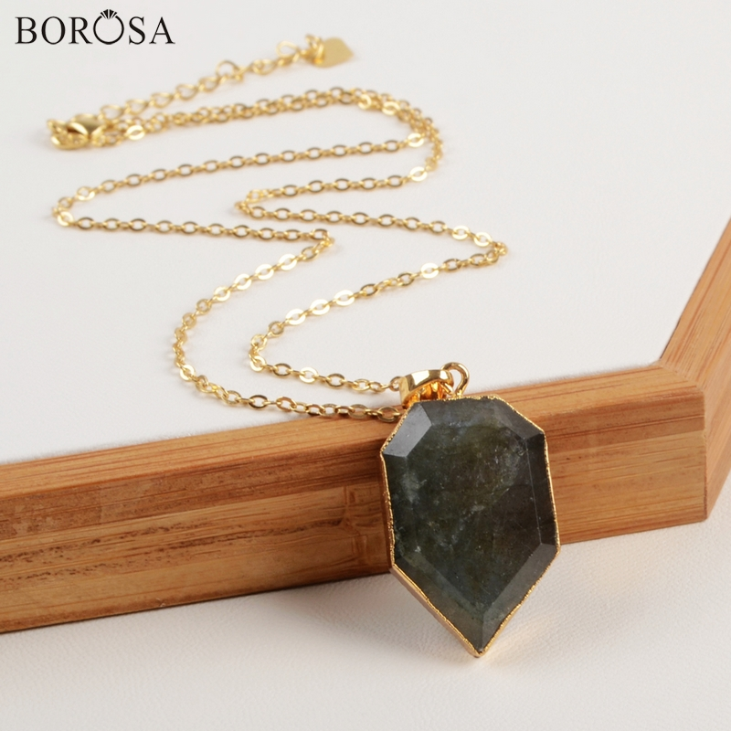 BOROSA 18inch Natural <font><b>Labradorite</b></font> <font><b>Necklace</b></font> Gold Color Shield Sparkling Natural Faceted Stone Pendant Jewelry CL155 image