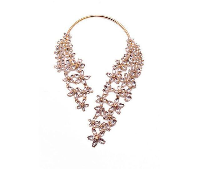 Fashion Crystal Flower Statement Necklace