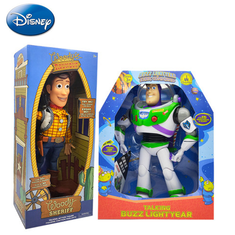 Disney 43cm Toy Story Talking Buzz Lightyear PVC Action Figure Collectible Doll Toys Christmas Birthday Gift For Kids Children