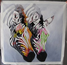 Popular decorative oil paintings zebras canvas painting for living room wall hot sell gift for friends