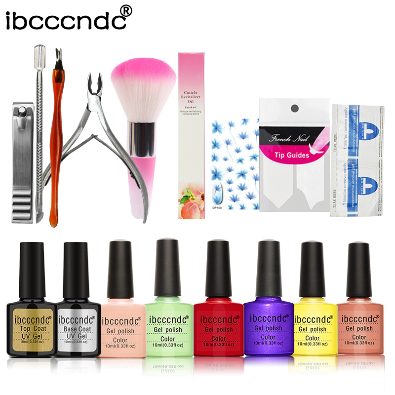 Nail Art Manicure Tool 6 X 10ml UV LED Gel Polish Base Top Coat Varnish French Tip Remover Practice Set File Kit  Without Lamp