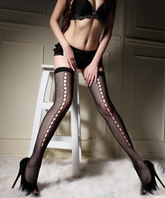 цена на Sexy Hollow Out Dots Women Over Knee Stockings Small Mesh Fishnet Stockings Tights