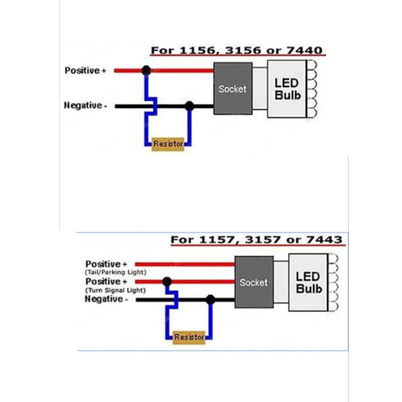 WLJH 2db 6ohm 50W led terhelésellenállás ellenállás-izzó fék - Autó világítás - Fénykép 6
