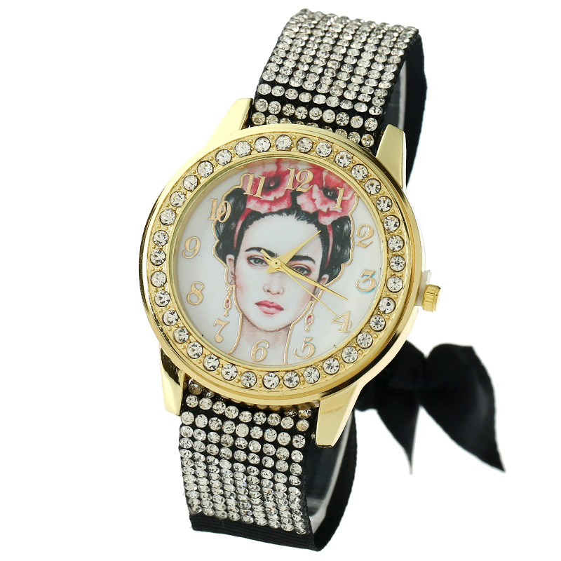 Gnova Platinum Women Watch Vintage Mexican White Face Frida Fashion Wristwatch Rhinestone Lace Style Golden Dial quartz A843 блуза mango блуза