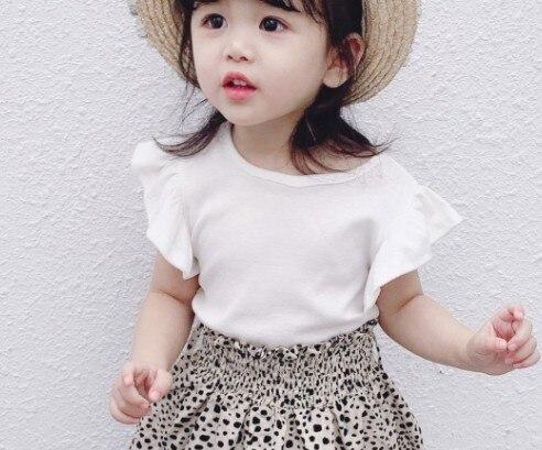 Топы для маленьких девочек; летняя хлопковая черная футболка для малышей с кружевными рукавами для детей - Цвет: Белый