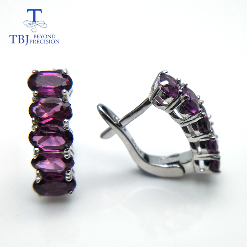 TBJ Sweet Clasp earring with natural purple rhodolite gemstone earring in 925 sterling silver elegant design