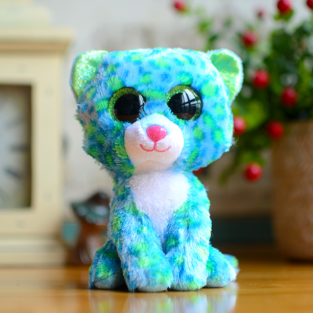 39bff1bb830 Ty Beanie Boos Kids Plush Toys Big Eyes Leona Blue Leopard Lovely  Children s Christmas Gifts Kawaii Cute Stuffed Animals Dolls