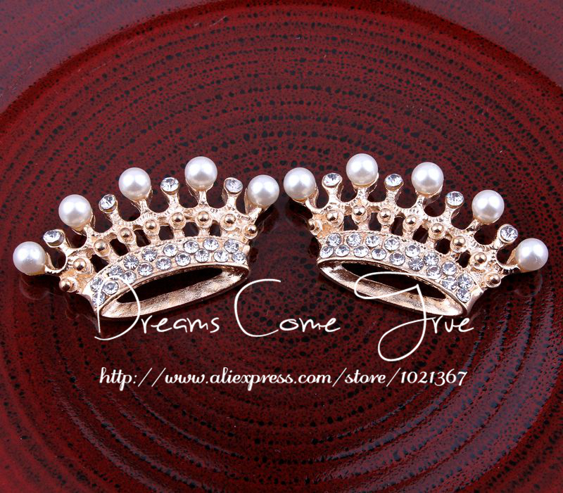 200pcs lot 2Colors Flatback Alloy Crown Shaped Rhinestone Button with Pearl Round Buckle For Craft and