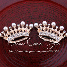 Crown-Shaped Hair-Accessory Rhinestone-Button Round-Buckle Craft Pearl Flatback-Alloy
