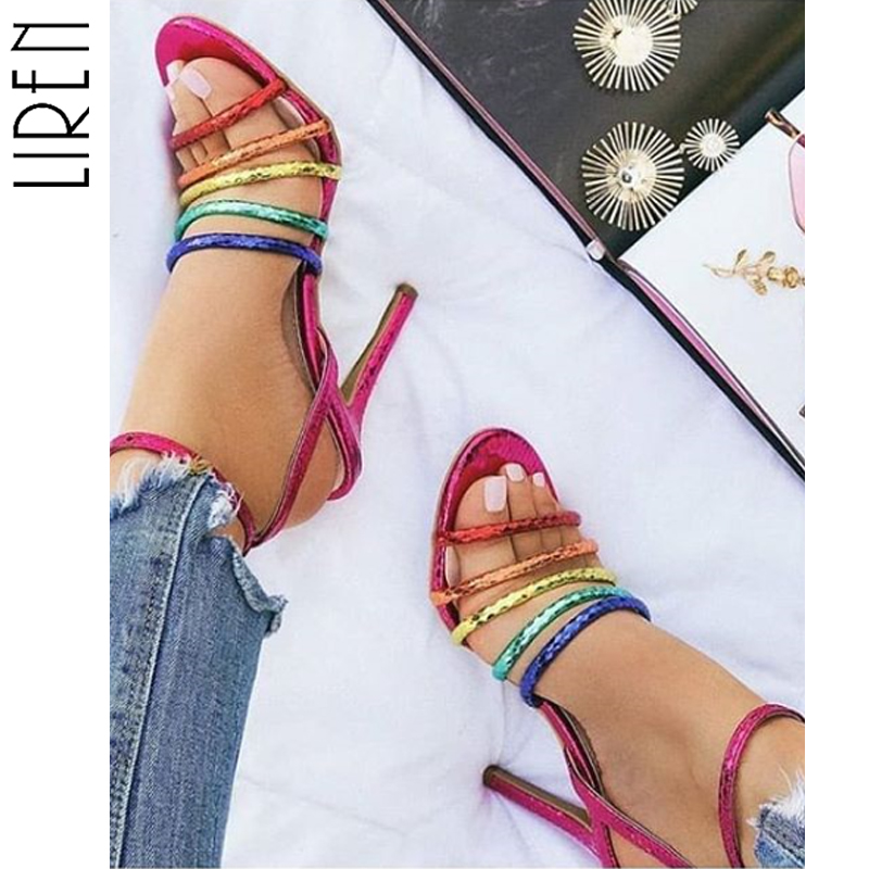 Liren 2019 Summer Sandals Gladiator Miexd Color Sexy High Thin Heels Shoes Woman Casual Buckle Sandals