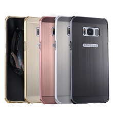 For Samsung Galaxy S8 Plus S8+ Case Brushed mirror Back Cover for Plating Aluminum Metal Frame
