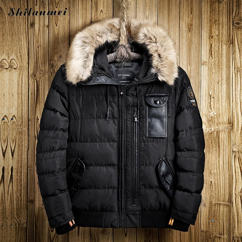 2017 Padded Parka Men Polyester Coat Winter Jacket Mens Fashion Thick Parkas Artificial Fur Collar Military Army Hooded Outwear dreak the new outdoor men s thick down jacket collar mens winter parka jacket coat lightweight jacket outwear overcoat