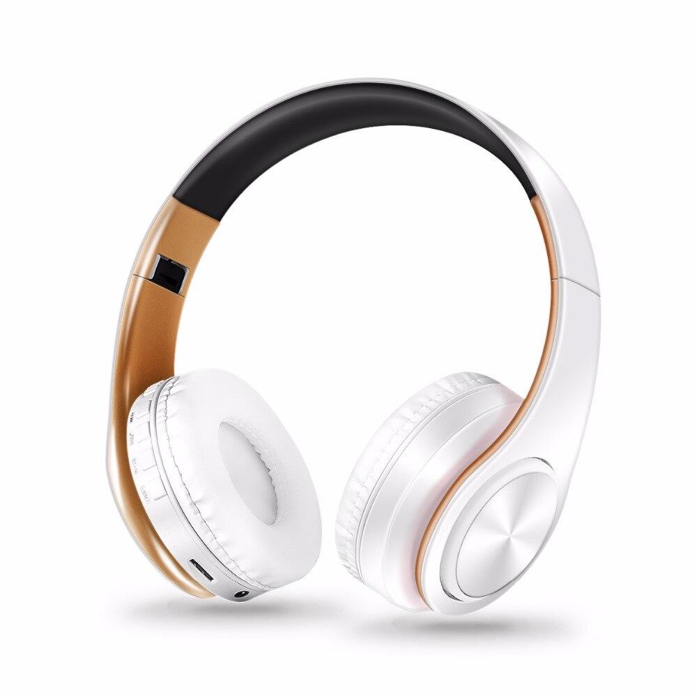 Gratis verzending new Gold kleuren Bluetooth Hoofdtelefoon Draadloze Stereo Headsets oordopjes met Mic/TF Card