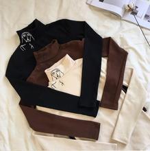 Outono nova gola alta manga longa retro magro impresso camiseta femininoCamisetas