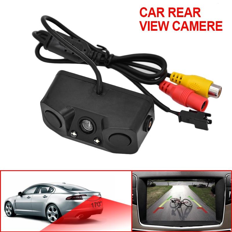 3 в 1 видео парковка Сенсор автомобиля обратный резервный заднего вида Камера с 2 Антирадары Датчики Биби индикатор тревоги анти автомобиль Cam