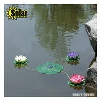 Solar lotus a set !!! Artificial plastic lotus flowers with led lights Solar Water Lily floating for pools decoration