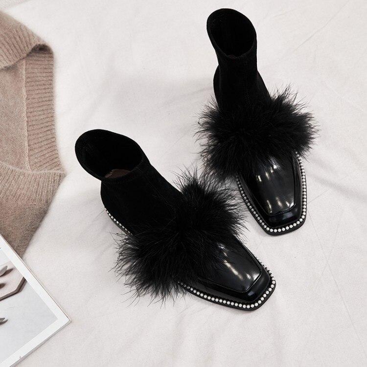 MLJUESE 2020 della caviglia delle donne stivali in pelle di mucca di inverno breve peluche antiscivolo sul colore nero punta rotonda stivali della caviglia delle donne del partito da sposa-in Stivaletti da Scarpe su  Gruppo 1