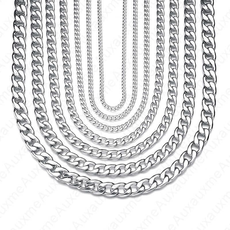 Auxauxme Stainless Steel Curb Cuban Necklace For Women Men 50cm-70cm Fashion Long Chain Necklace Punk Jewelry Wholesale