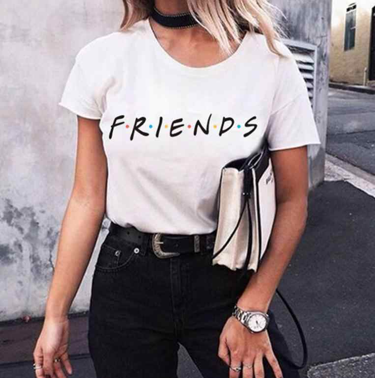 Specialized FRIENDS Letter T Shirt Women Tshirt Casual Funny T Shirt for Lady Girl Top Tee Hipster Womens Clothing  Shirts Women