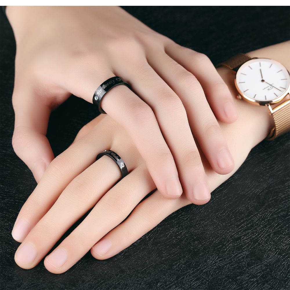 Fate Love Black Ring Her beauty His wisdom Couple Rings Anel ...