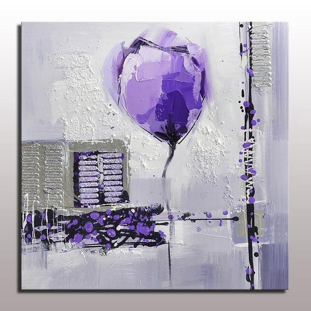 Konda Art Framed Handmade Purple Flower Oil Painting On: Hotselling Handmade Decorative Purple Flower Painting