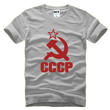 CCCP T Shirts Men USSR Soviet Union KGB Man T-shirt Short Sleeve Moscow Russia Tees Cotton O Neck Tops Custom accepted