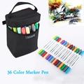 Художественные маркеры Finecolour с двойной головкой  36 цветов  набор ручек для рисования акварелью на водной основе с сумкой