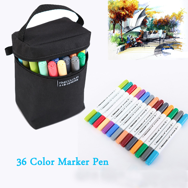 Finecolour 36 Colors Artist Double Headed Art Markers Pen Set Sketch Water Based Watercolor for Drawing Painting With Bag 36 colors set 0 4mm fine liner colored marker pens watercolor based art markers for manga anime sketch drawing pen art supplies