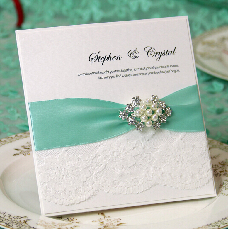 Aliexpress.com : Buy CA0635 Handmade Lace Wedding Invitations with ...