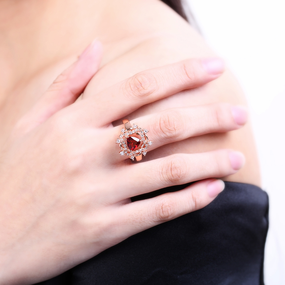 Brand Vintage Geometric Shape Snowflake Crystal Ring Inlaid Austria ...