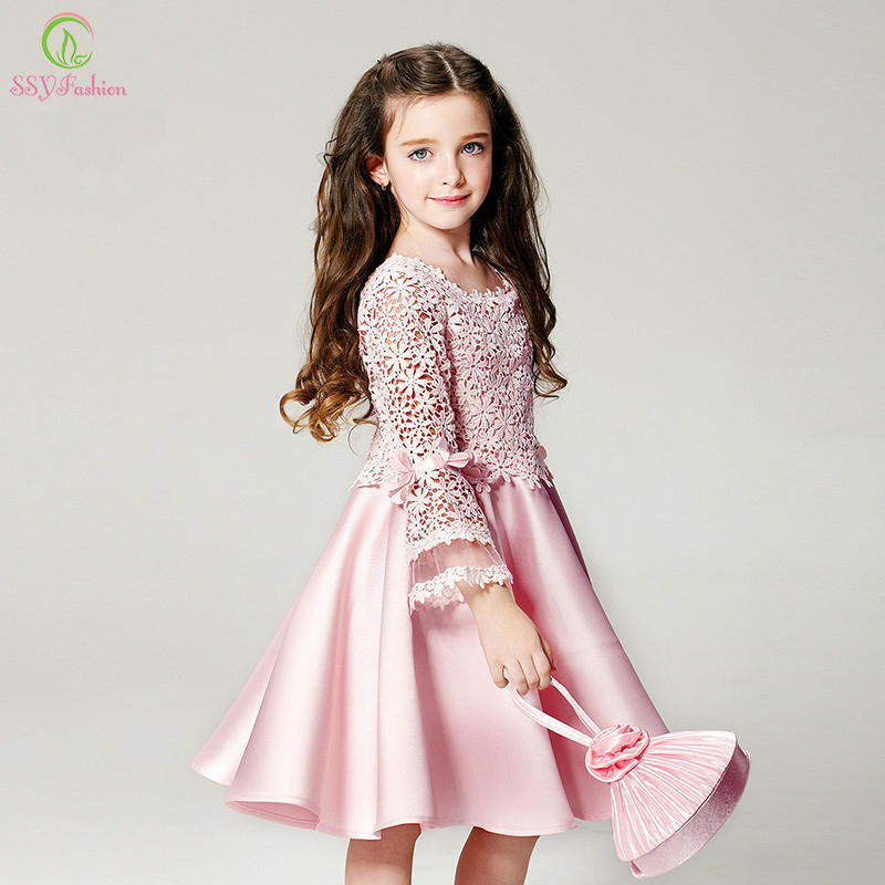 SSYFashion Pink Lace Satin   Flower     Girl     Dresses   for Wedding Children Princess Long Sleeved First Communion Birthday Party   Dress