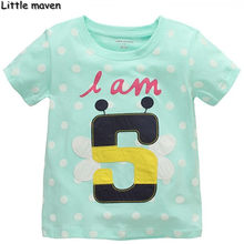 Little maven children brand clothes 2017 summer baby girls educational clothes Cotton Number 5 t shirt kids brand tee tops T010(China)
