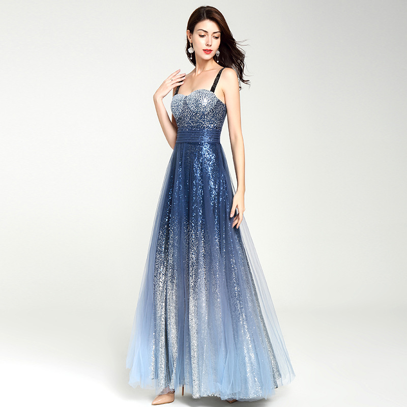 Gradient Long   Prom     Dress   Sexy Star Sky Sequined Shining Sweetheart Straps Sleeveless A-line Floor-Length   Prom     Dress   Party   Dress