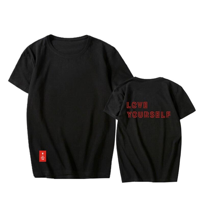KPOP BTS Bangtan niños Ti mismo mundo Tour o-Cuello de algodón Hip Hop camiseta T camisas Tops de manga corta Camiseta PT926