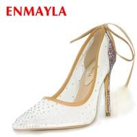 ENMAYLA Women S High Heels Wedding Dressing Shoes Woman Rhinestone Handmade Clear Stiletto Super Prom Spike