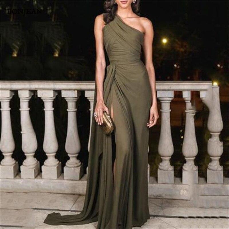 2019 Simple Evening Dresses A Line Floor Length One Shoulder Side Split Evening Gowns Custom Made