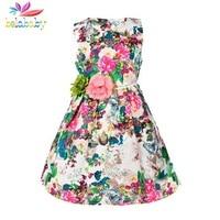 Belababy Flower Girl Dresses Children Kids Colorful Floral Printed Dress Cotton Linen Summer Sundress Beach Vestidos