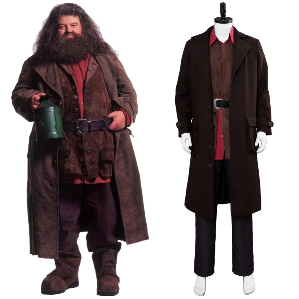 Harri Potter Cosplay Rubeus Hagrid Cosplay Costume Hogwarts Wizard Hagrid Giant Professor Outfit Adult Men for Halloween Party