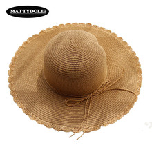 MATTYDOLIE Bow Straw Hat Summer Dome Seaside  Vacation Can Be Folded Sun Hats For Women With Leisure Beach