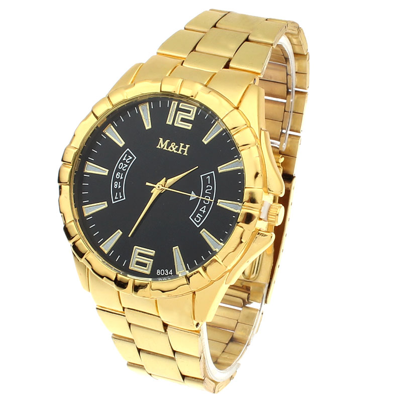 Trendy Watch Men Womens New Stainless Steel Sport Quartz Wrist Gold Bracelet Big Dial Watch relogio masculino #1214Trendy Watch Men Womens New Stainless Steel Sport Quartz Wrist Gold Bracelet Big Dial Watch relogio masculino #1214