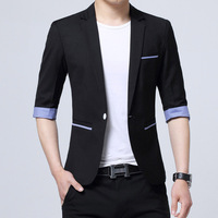 Men Slim Summer Suit Blazer Formal Business Fashion Male Suit One Button Lapel Casual 3/4 Sleeve Pockets Top