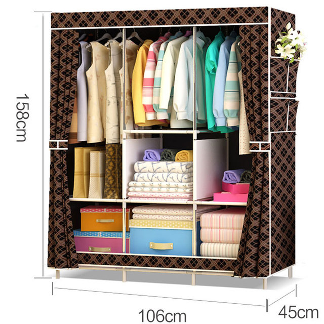 Non-woven Large Wardrobe Coffee Fabric Closet Portable Folding Dust-proof Waterproof Storage Cabinet Home Furniture 3