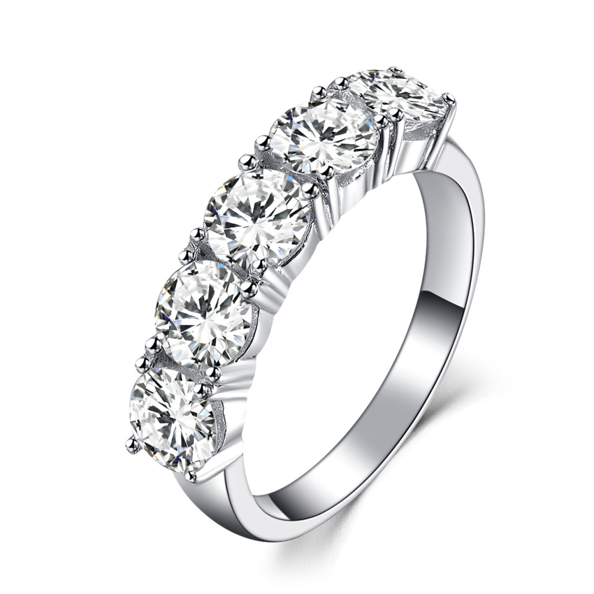 Five Stones 2 5Ct Synthetic Diamonds Engagement Ring Wedding Bands Solid 925 Sterling Silver Ring White
