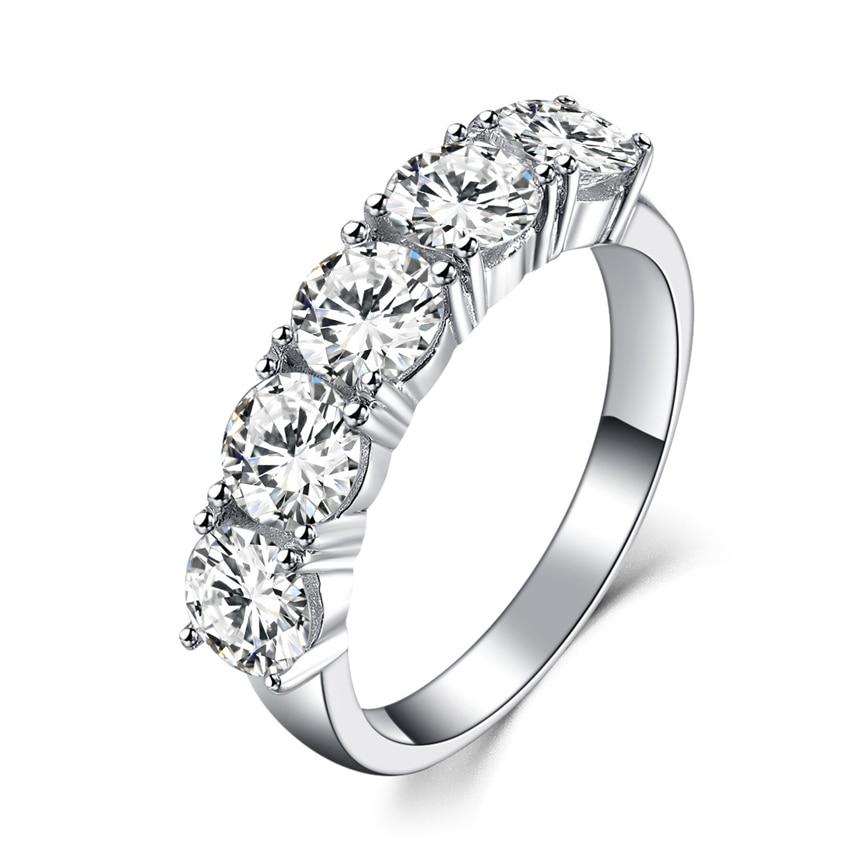 Fünf Steine 2.5Ct Synthetischen Diamanten Verlobungsring Eheringe Solide 925 Sterling Silber Ring Weiß Farbe Gold Schmuck-in Eheringe aus Schmuck und Accessoires bei  Gruppe 1