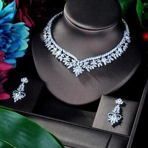 Image 4 - HIBRIDE Elegante Blume Design AAA Cubic Zirkon Frauen Braut Schmuck Sets Für Party Zubehör Schmuck Geschenke N 941