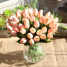 10 Pcs Simulation PU Mini Tulip Wedding Silk Flower Party Artificial Home Deco