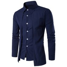 Laamei 2018 Fake 2Pcs Mens Shirt Brand Male Long Sleeve Shirts Casual Solid Color Slim Fit Black Man Dress Shirts Plus Size(China)