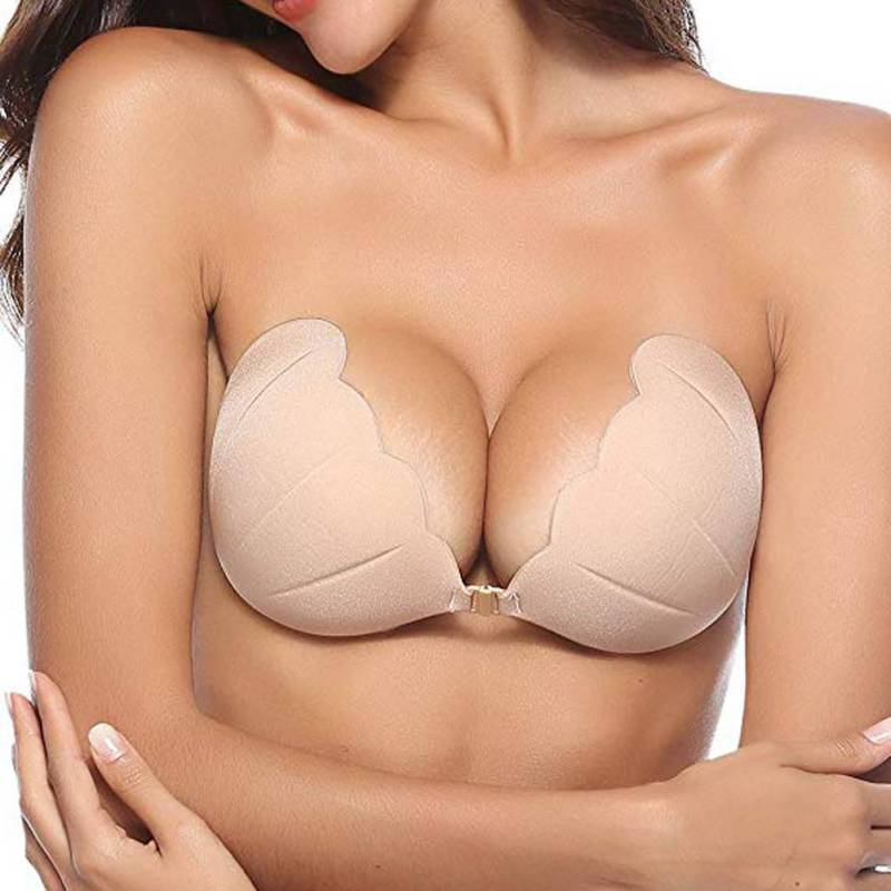 Women Invisible Bra Push Up Shell Strapless Bras Dress Breast Petal Sticky Silicone Self-Adhesive Front Buckle Brassiere