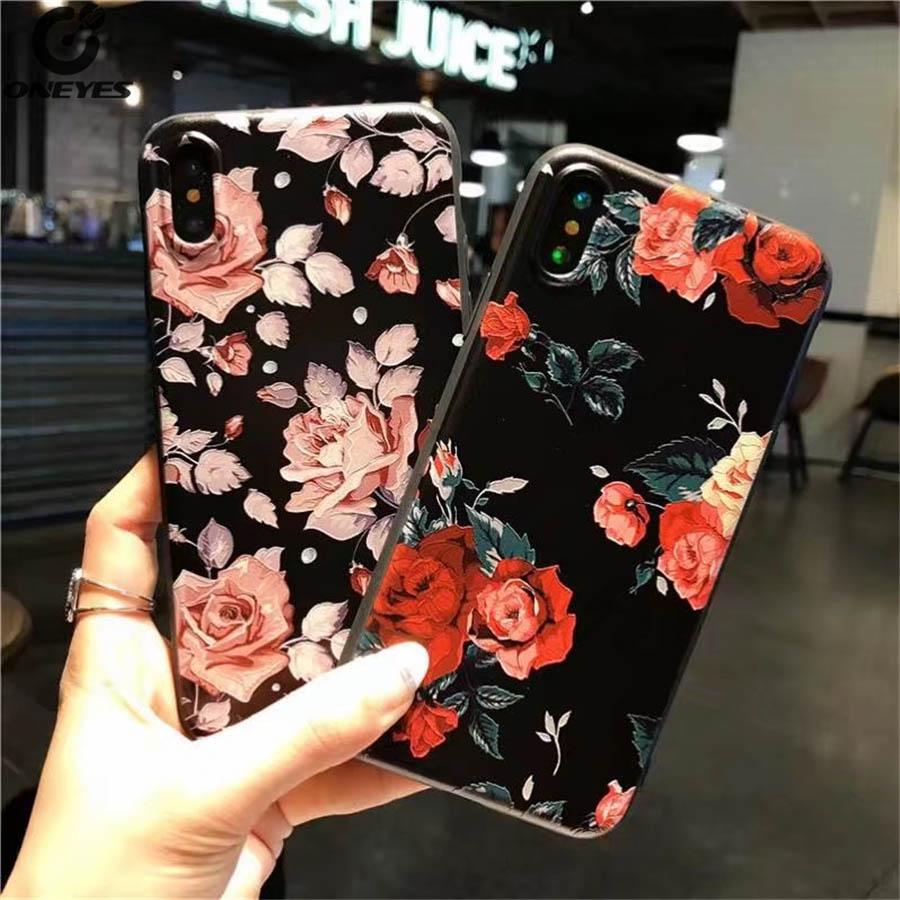 Модные рельефных Силиконовые Мягкая ПК + ТПУ розовыми цветами чехол для телефона <font><b>iPhone</b></font> 5 5S ES 6 6 S 6 плюс 6 S плюс 7 Plus 8 плюс