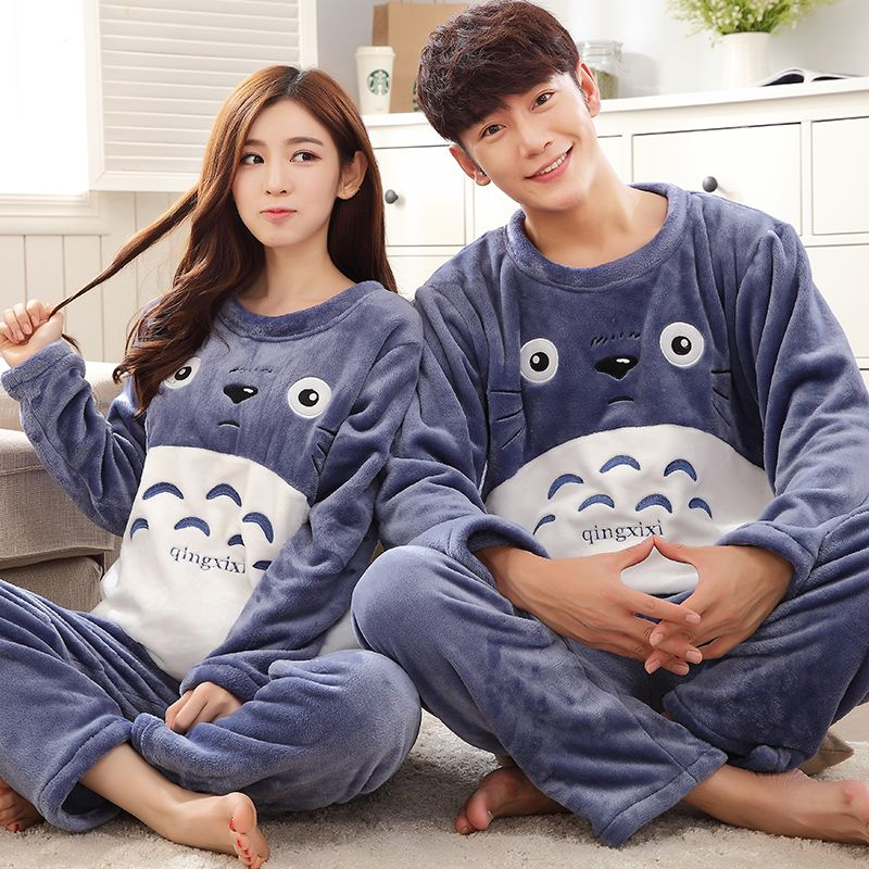 Pajama-Sets Lounge-Set Dressing-Gown Flannel Winter Casual Totoro Animal O-Neck For Men